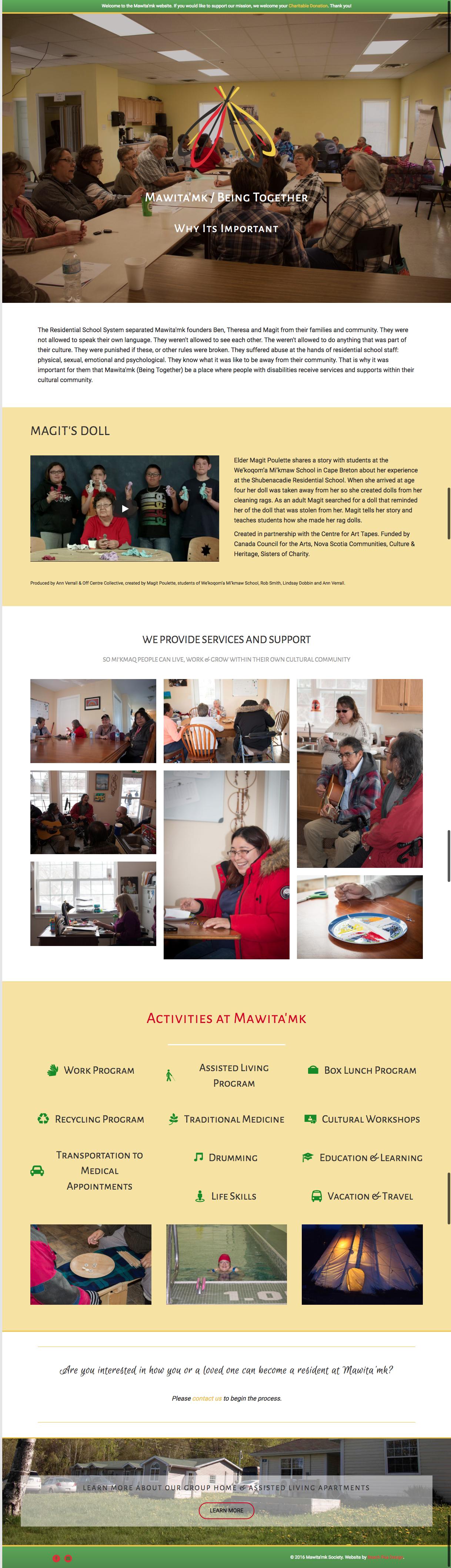 Website Design by Beach Pea Design for Mawita'mk Society